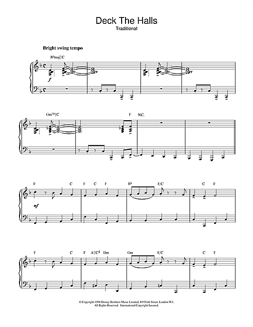 Christmas Carol Deck The Halls (jazzy arrangement) sheet music notes and chords