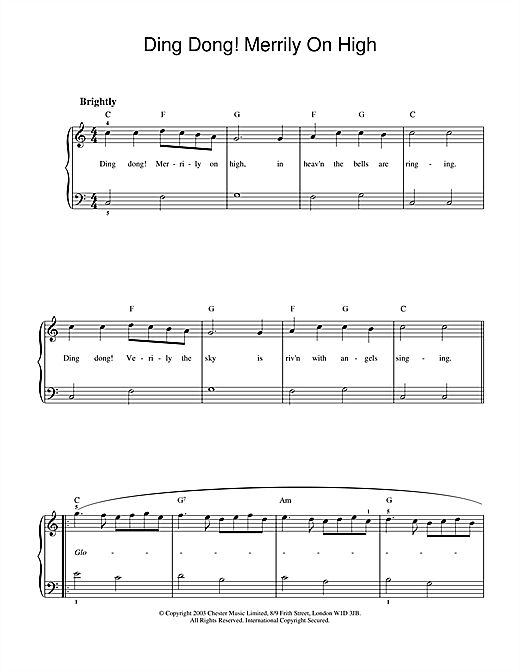Christmas Carol Ding Dong! Merrily On High sheet music notes and chords. Download Printable PDF.