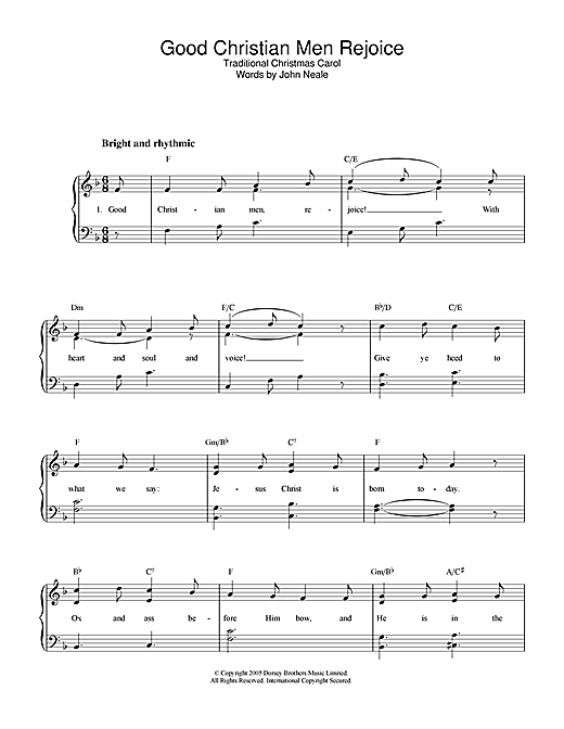 Christmas Carol Good Christian Men, Rejoice sheet music notes and chords