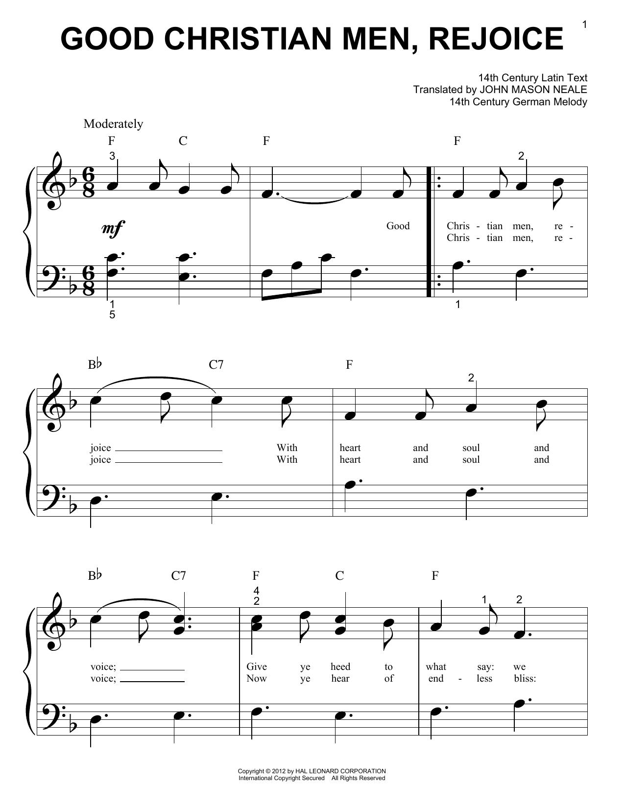 Christmas Carol Good Christian Men Rejoice sheet music notes and chords