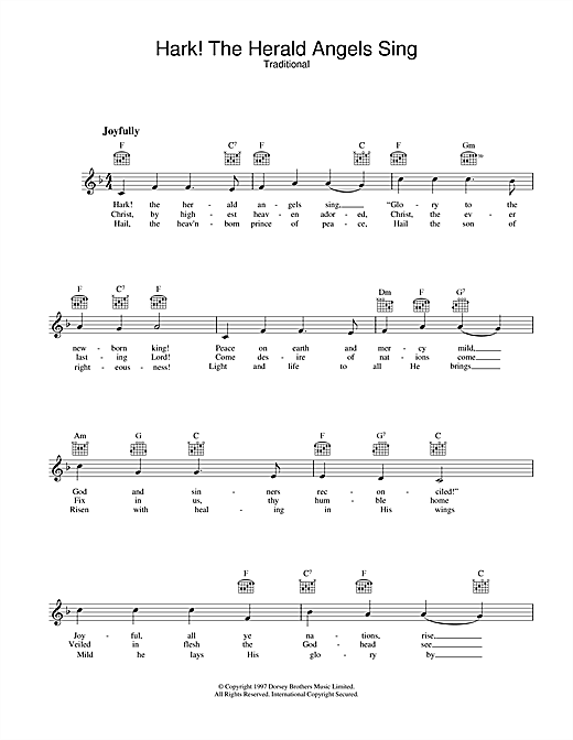 Christmas Carol Hark! The Herald Angels Sing sheet music notes and chords. Download Printable PDF.