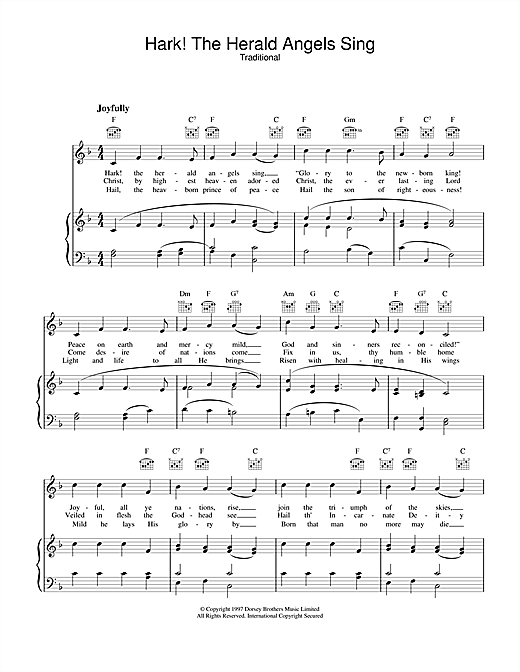 Christmas Carol Hark! The Herald Angels Sing sheet music notes and chords
