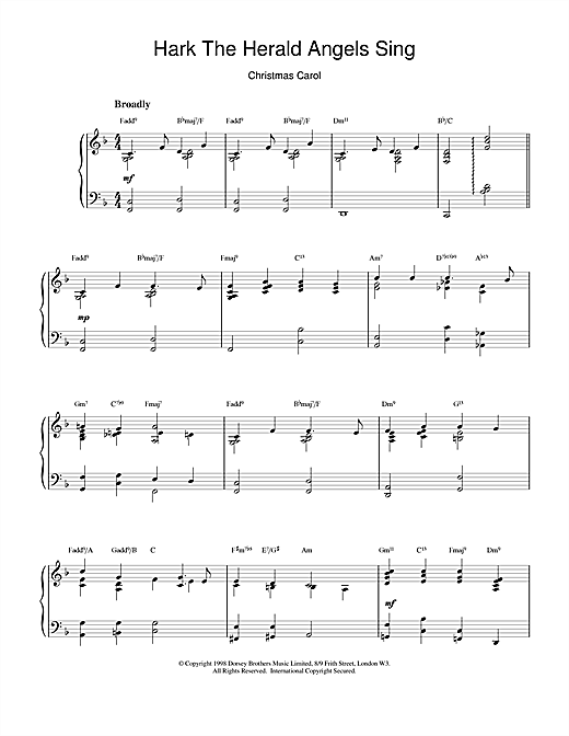 Christmas Carol Hark! The Herald Angels Sing (jazzy arrangement) sheet music notes and chords