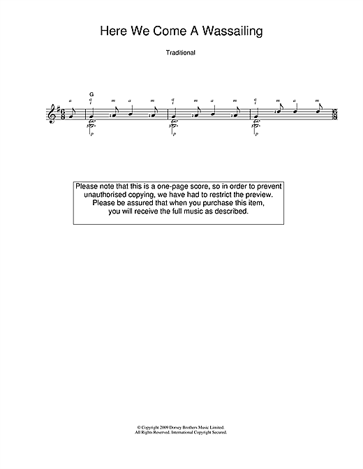 Christmas Carol Here We Come A-Wassailing sheet music notes and chords