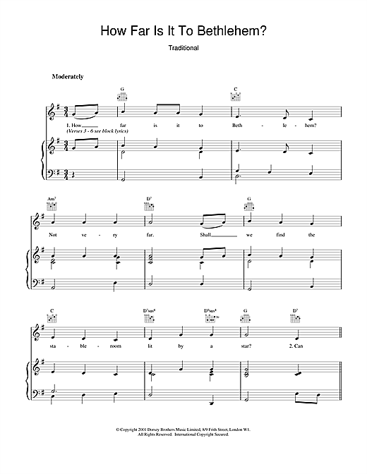 Christmas Carol How Far Is It To Bethlehem? sheet music notes and chords