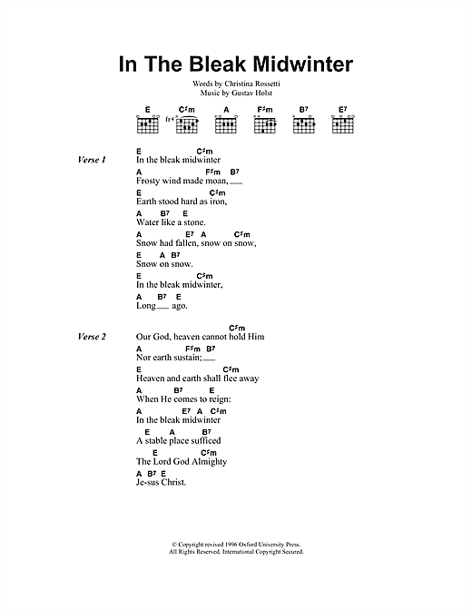 Christmas Carol In The Bleak Midwinter sheet music notes and chords