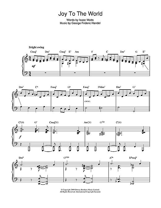 Christmas Carol Joy To The World (jazz version) sheet music notes and chords