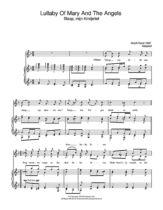 Christmas Carol Lullaby Of Mary And The Angels sheet music notes and chords. Download Printable PDF.