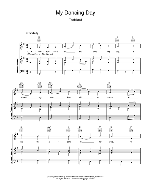 Christmas Carol My Dancing Day sheet music notes and chords