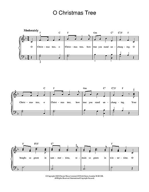 Christmas Carol O Christmas Tree sheet music notes and chords