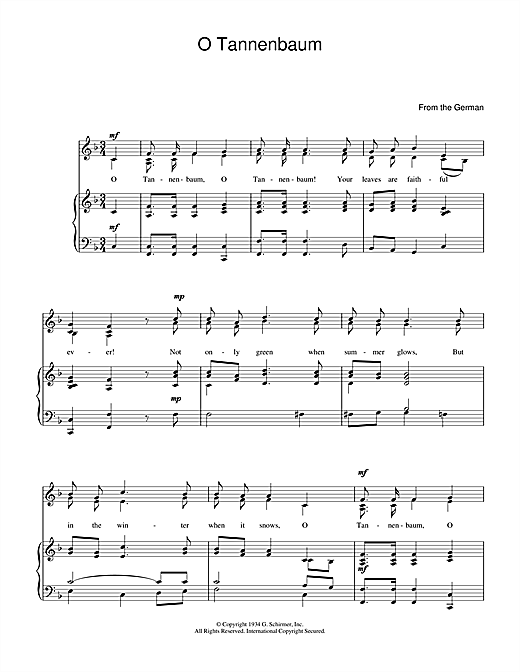 Christmas Carol O Christmas Tree O Tannenbaum Sheet Music Pdf Notes Chords Christmas Score Guitar Chords Lyrics Download Printable Sku 49775