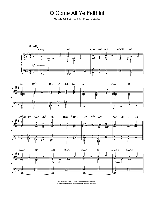 Christmas Carol O Come All Ye Faithful (jazz version) sheet music notes and chords