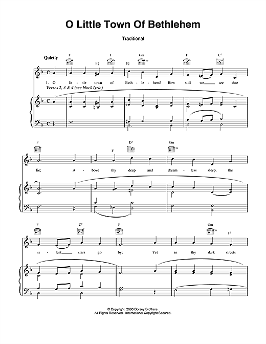 Christmas Carol O Little Town Of Bethlehem sheet music notes and chords