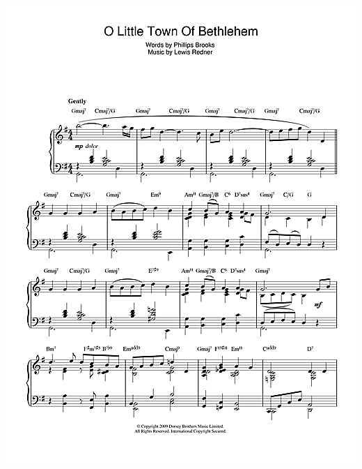 Christmas Carol O Little Town Of Bethlehem (jazz version) sheet music notes and chords