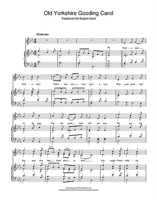 Christmas Carol Old Yorkshire Gooding Carol sheet music notes and chords. Download Printable PDF.