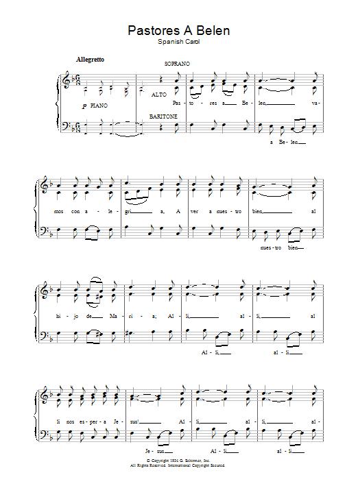 Canción De Navidad Pastores A Belen sheet music notes and chords. Download Printable PDF.