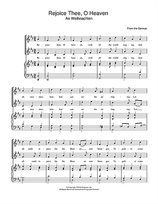 Christmas Carol Rejoice Thee, O Heaven sheet music notes and chords. Download Printable PDF.