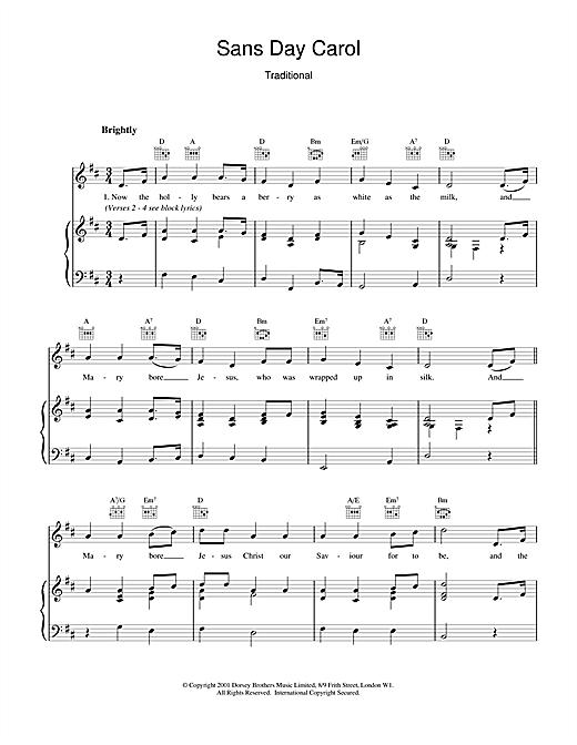 Christmas Carol Sans Day Carol sheet music notes and chords
