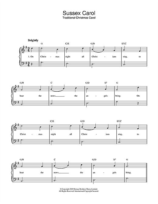 Christmas Carol Sussex Carol sheet music notes and chords. Download Printable PDF.