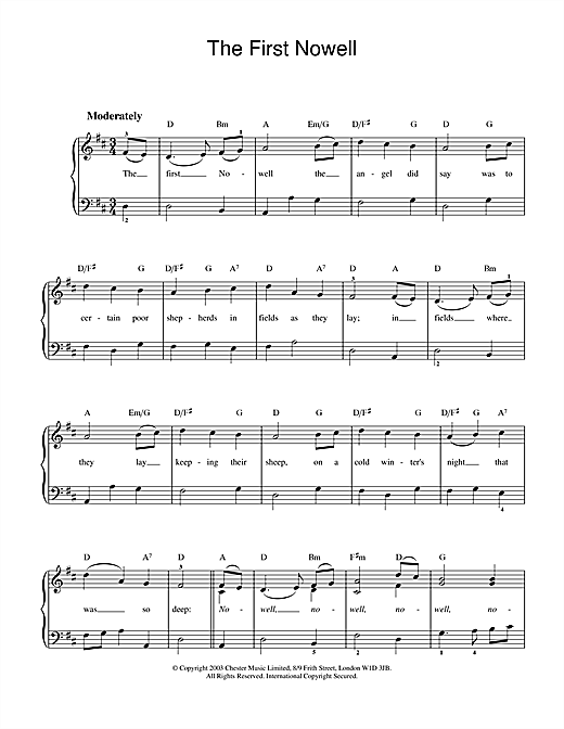 Christmas Carol The First Nowell sheet music notes and chords