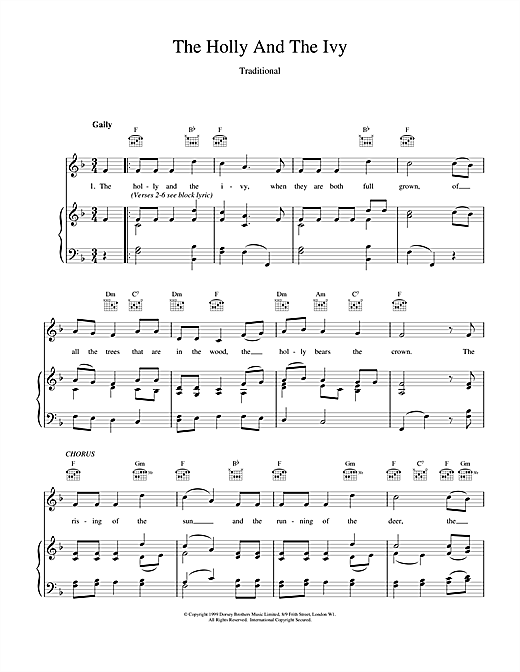 Christmas Carol The Holly And The Ivy sheet music notes and chords