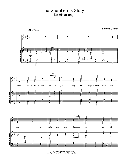 Christmas Carol The Shepherd's Story sheet music notes and chords. Download Printable PDF.