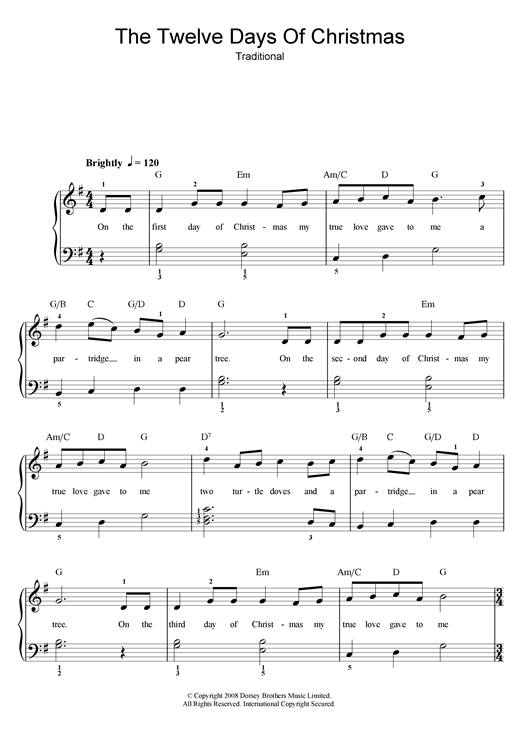 image relating to Twelve Days of Christmas Lyrics Printable identify Xmas Carol The 12 Times Of Xmas Sheet Audio Notes, Chords  Obtain Printable Guitar Chords/Lyrics - SKU: 108389