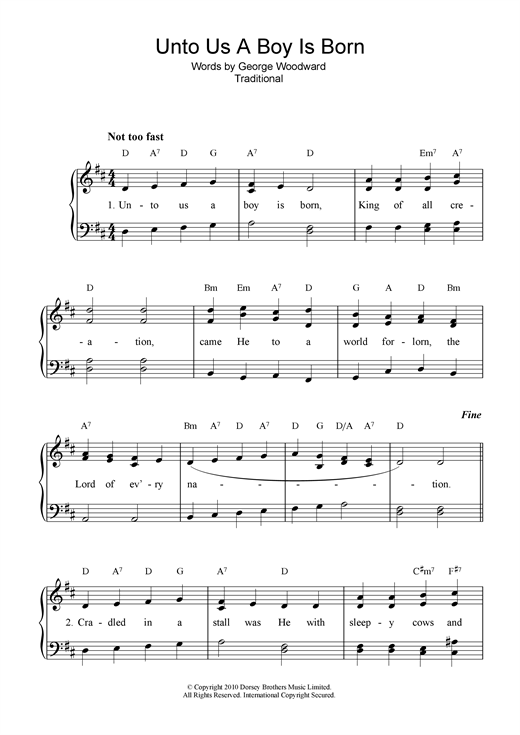 Christmas Carol Unto Us A Boy Is Born sheet music notes and chords. Download Printable PDF.
