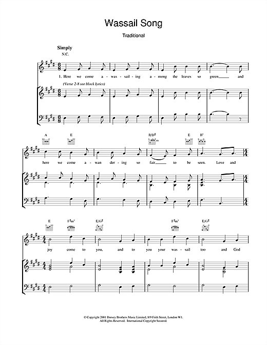 Christmas Carol Wassail Song sheet music notes and chords