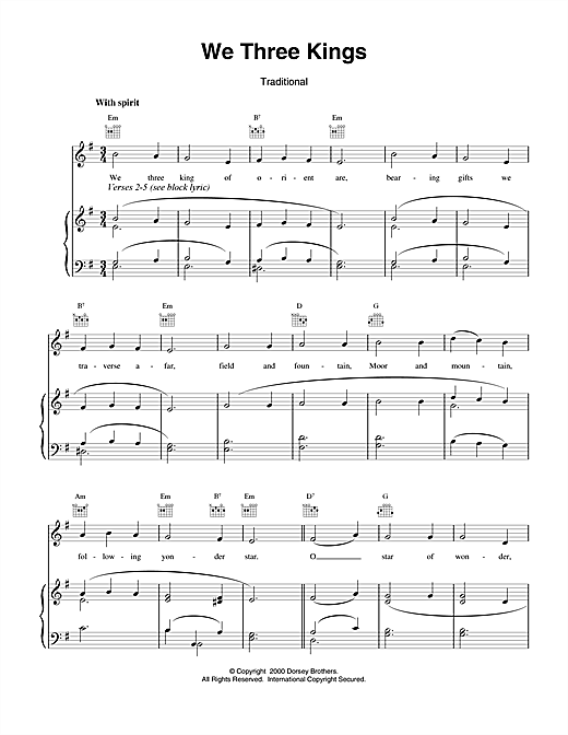 Christmas Carol We Three Kings Of Orient Are sheet music notes and chords. Download Printable PDF.