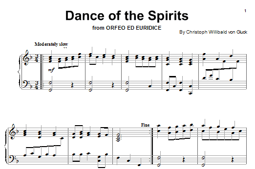 Christoph Willibald von Gluck Dance Of The Blessed Spirits (from Orfeo ed Euridice) sheet music notes and chords. Download Printable PDF.