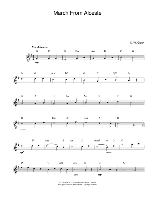 Christoph Willibald von Gluck March From Alceste sheet music notes and chords. Download Printable PDF.