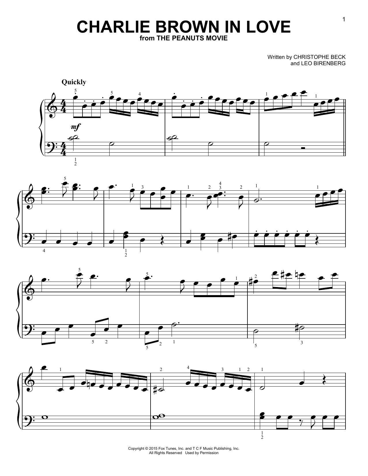 Christophe Beck Charlie Brown In Love sheet music notes and chords. Download Printable PDF.