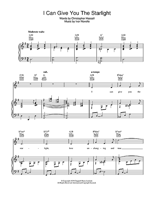 Christopher Hassall I Can Give You The Starlight sheet music notes and chords. Download Printable PDF.