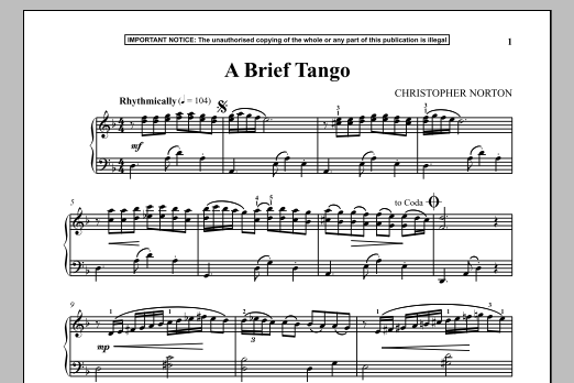 Christopher Norton A Brief Tango sheet music notes and chords. Download Printable PDF.