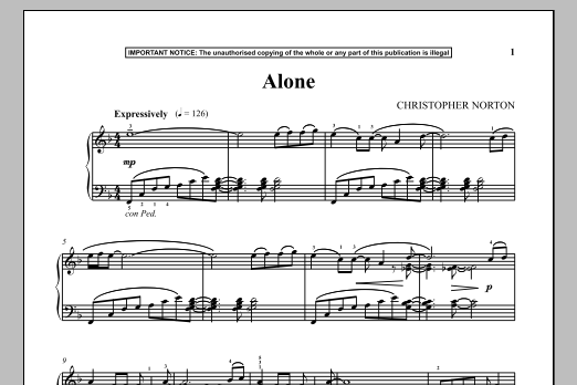 Christopher Norton Alone sheet music notes and chords. Download Printable PDF.
