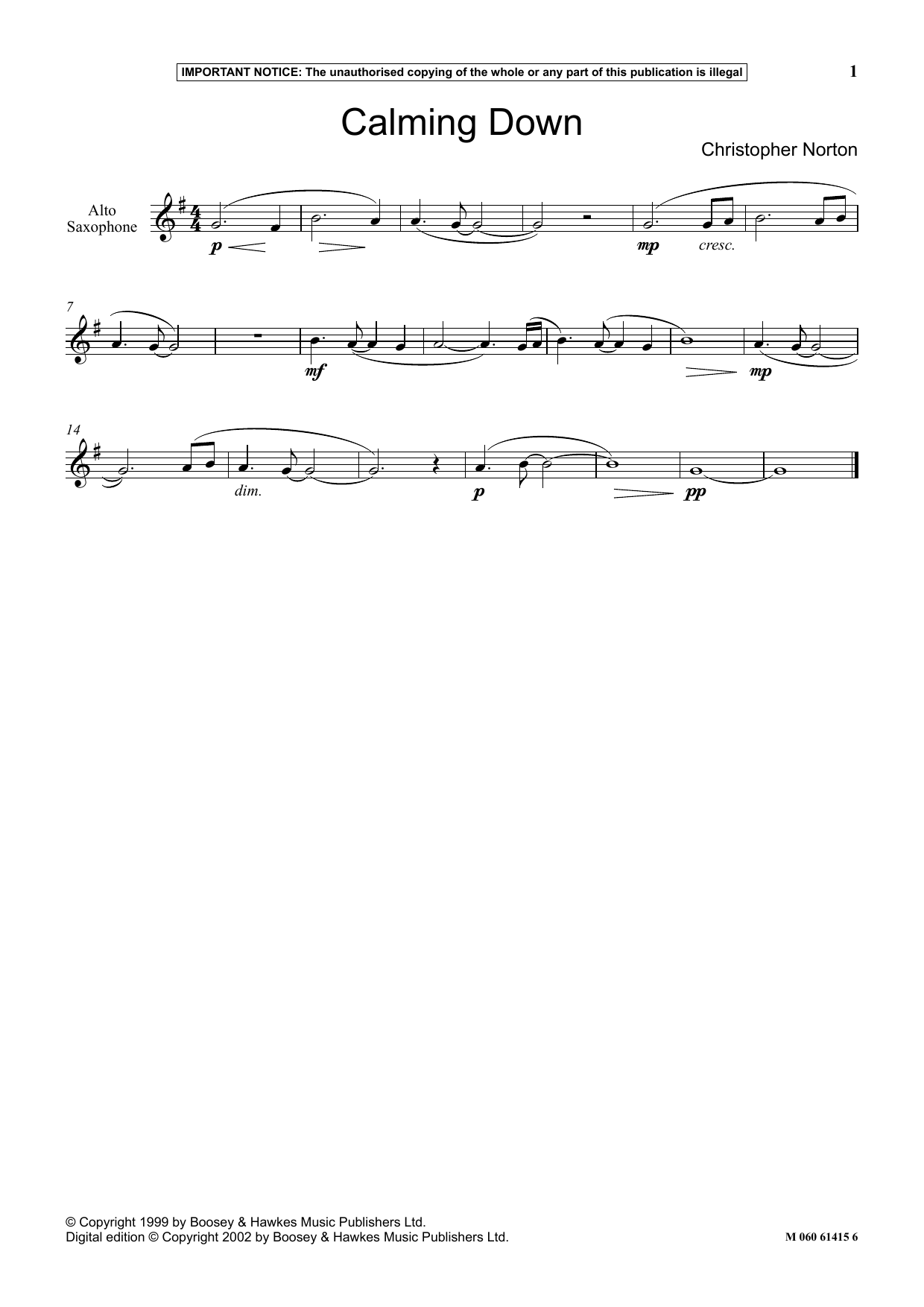 Christopher Norton Calming Down sheet music notes and chords. Download Printable PDF.