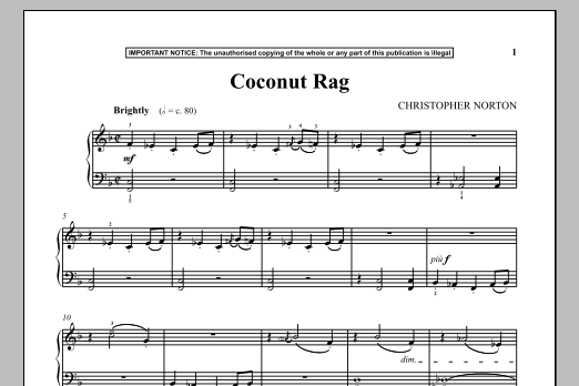 Christopher Norton Coconut Rag sheet music notes and chords