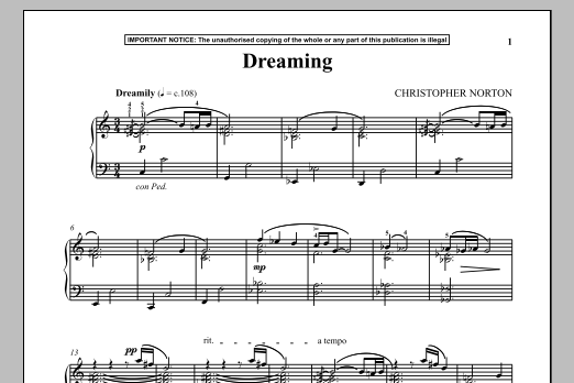 Christopher Norton Dreaming sheet music notes and chords. Download Printable PDF.