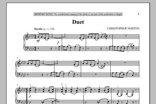 Christopher Norton Duet sheet music notes and chords. Download Printable PDF.