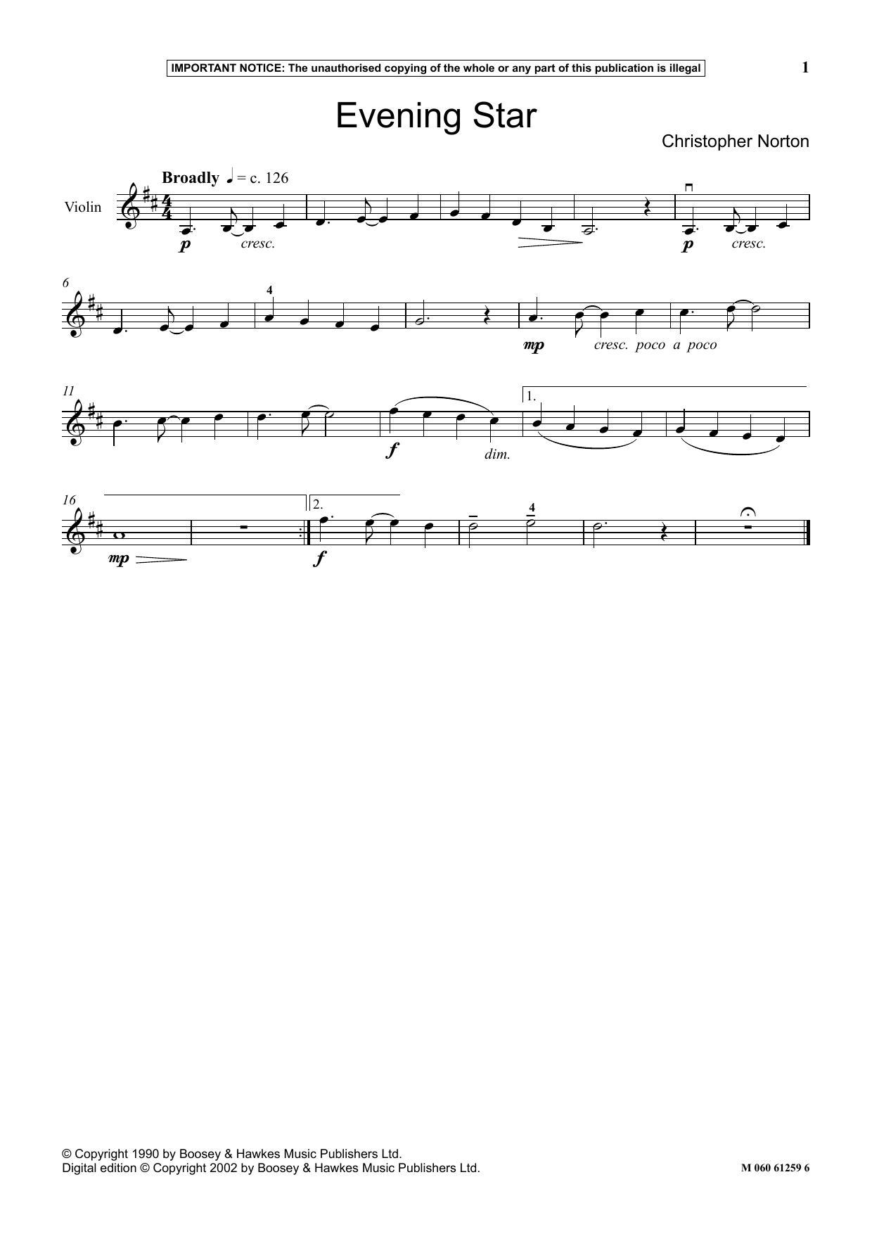 Christopher Norton Evening Star sheet music notes and chords. Download Printable PDF.