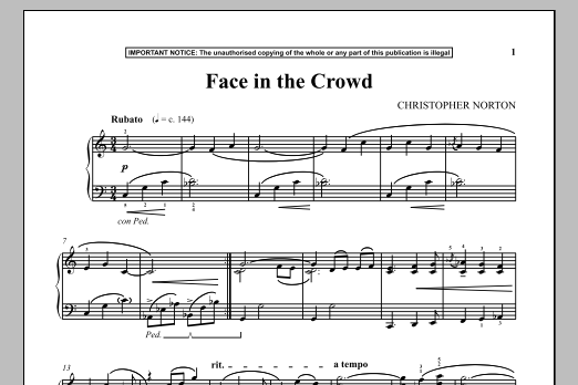 Christopher Norton Face In The Crowd sheet music notes and chords