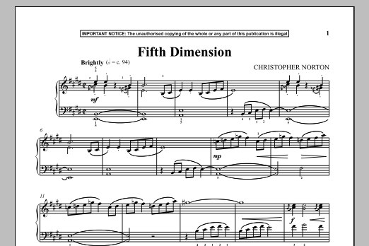 Christopher Norton Fifth Dimension sheet music notes and chords. Download Printable PDF.