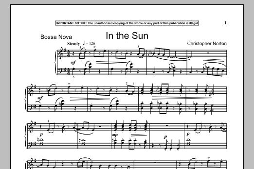 Christopher Norton In The Sun sheet music notes and chords
