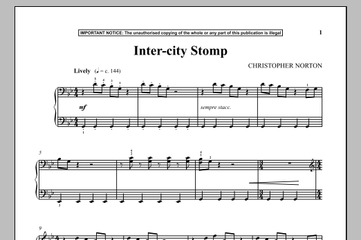 Christopher Norton Inter-City Stomp sheet music notes and chords. Download Printable PDF.