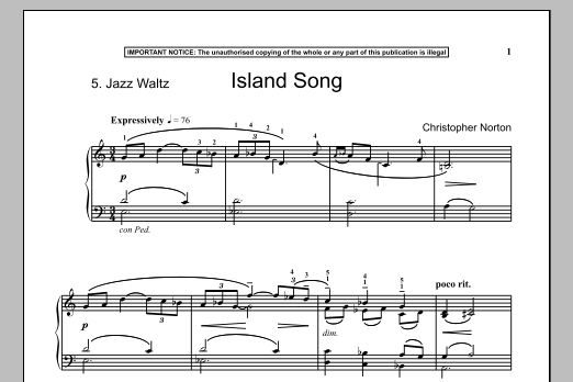 Christopher Norton Island Song sheet music notes and chords. Download Printable PDF.