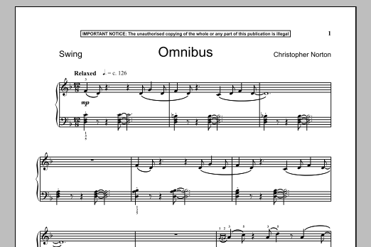 Christopher Norton Omnibus sheet music notes and chords. Download Printable PDF.