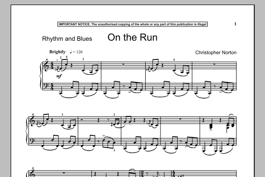 Christopher Norton On The Run sheet music notes and chords. Download Printable PDF.