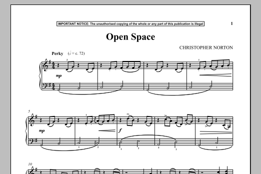 Christopher Norton Open Space sheet music notes and chords. Download Printable PDF.