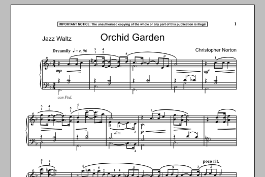 Christopher Norton Orchid Garden sheet music notes and chords